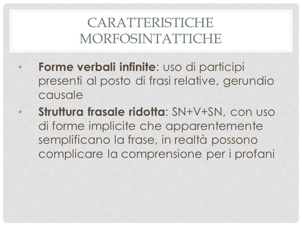 Caratteristiche morfosintattiche