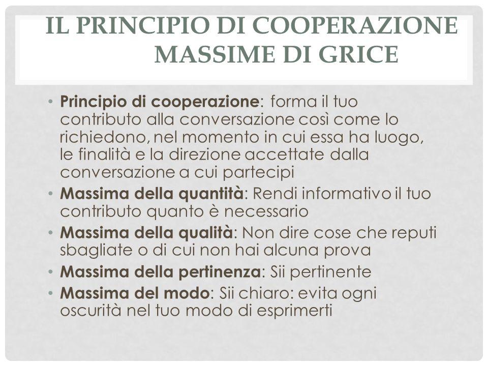 Il principio di cooperazione massime di Grice