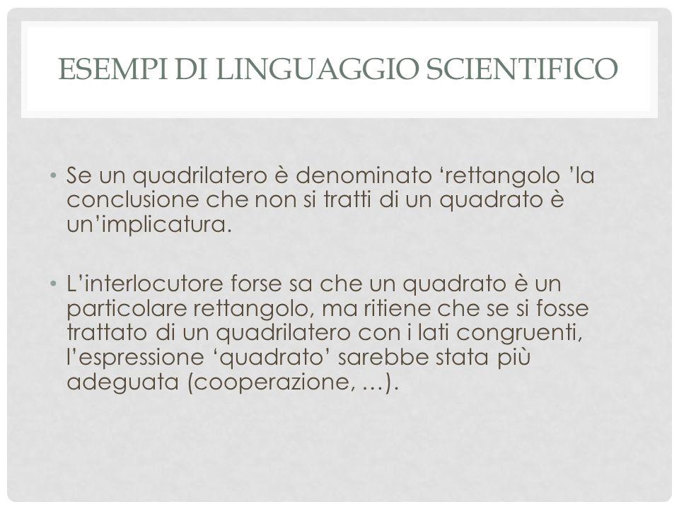 Esempi di linguaggio scientifico