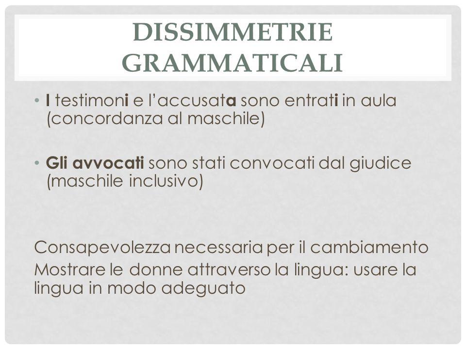 Dissimmetrie grammaticali