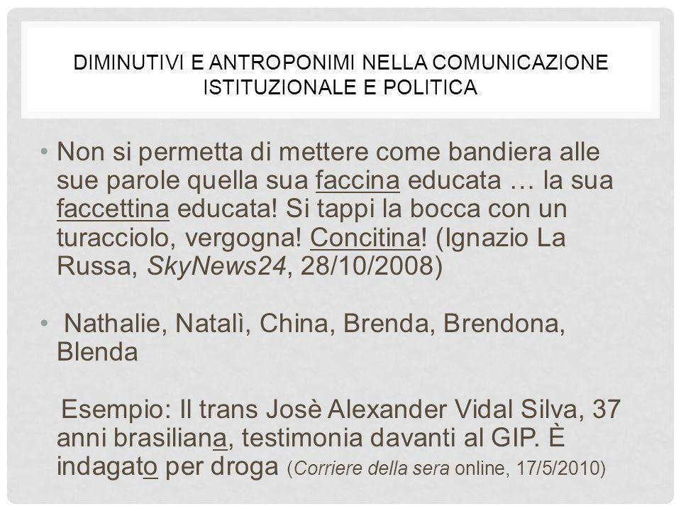 Diminutivi e antroponimi nella comunicazione istituzionale e politica