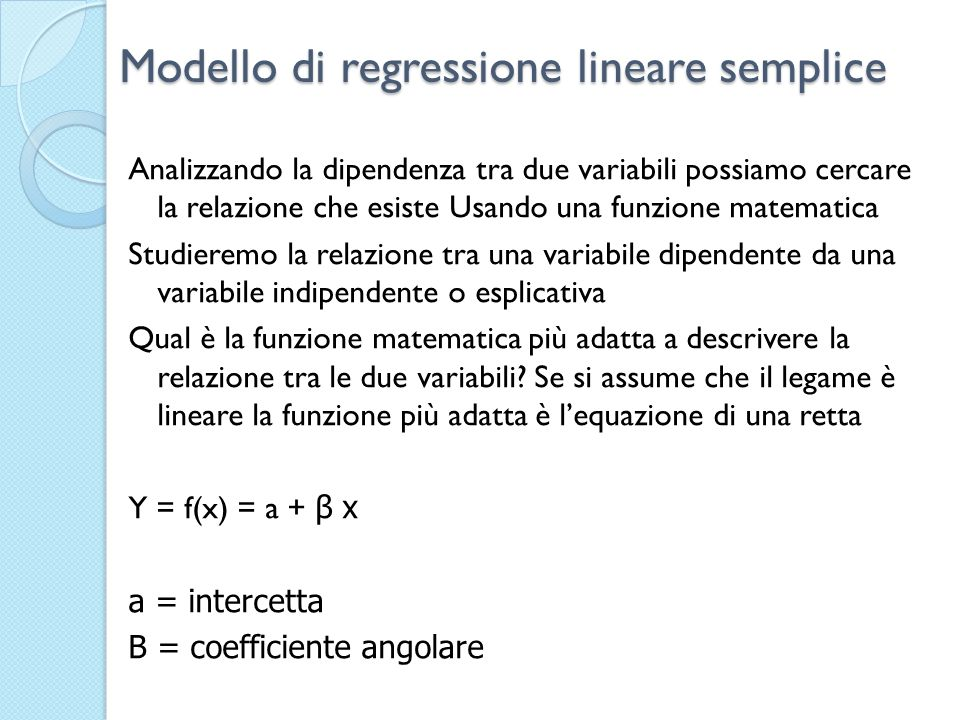 Modello di regressione lineare semplice