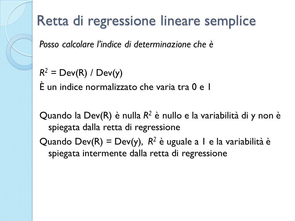 Retta di regressione lineare semplice
