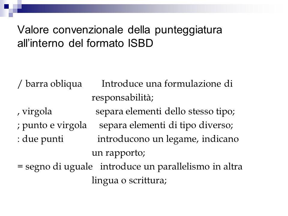 Valore convenzionale della punteggiatura all'interno del formato ISBD