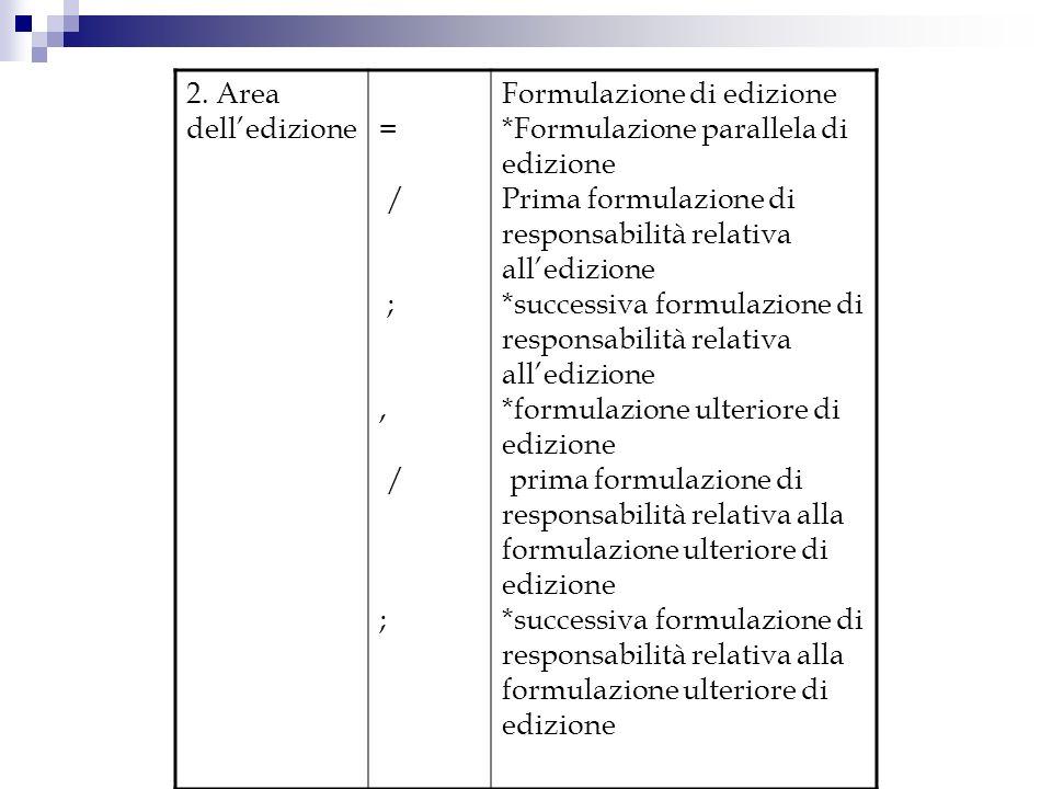 2. Area dell'edizione = / ; , Formulazione di edizione. *Formulazione parallela di edizione.