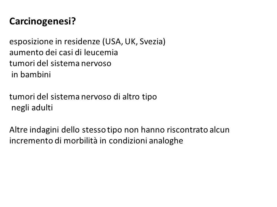 Carcinogenesi esposizione in residenze (USA, UK, Svezia)