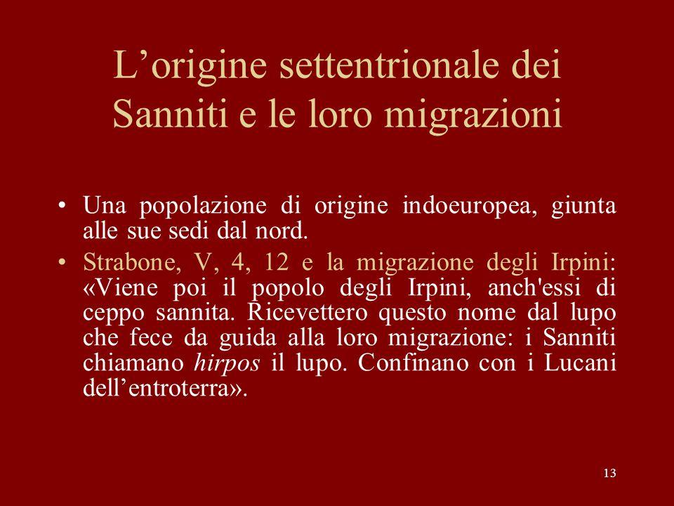 L'origine settentrionale dei Sanniti e le loro migrazioni