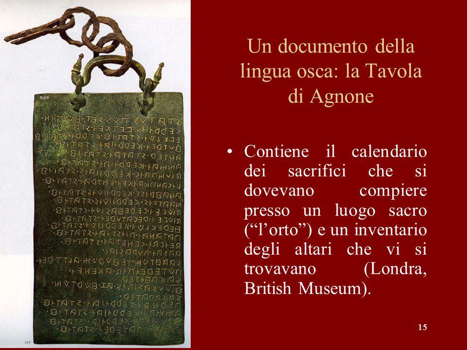 Un documento della lingua osca: la Tavola di Agnone