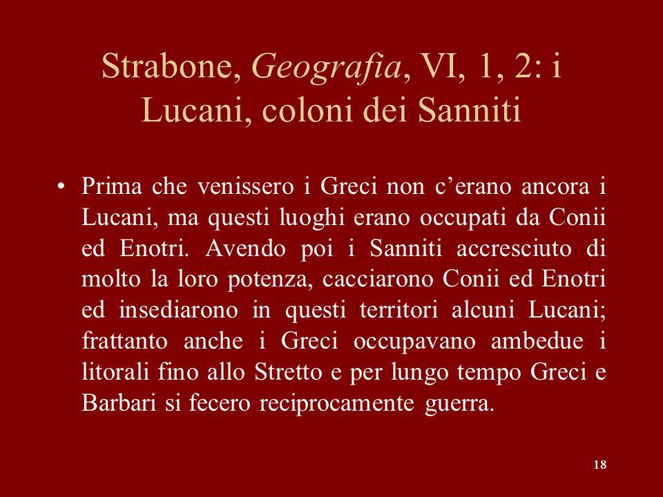 Strabone, Geografia, VI, 1, 2: i Lucani, coloni dei Sanniti
