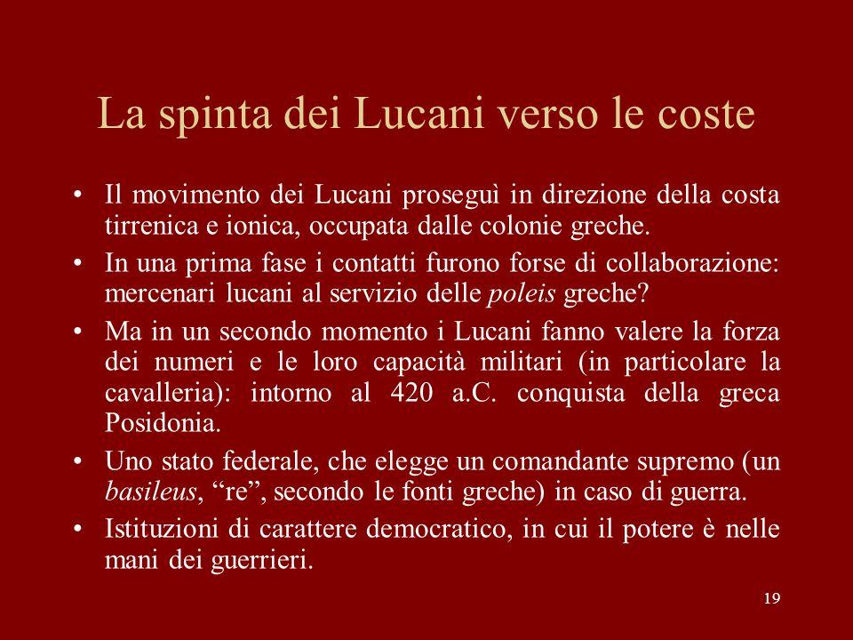La spinta dei Lucani verso le coste