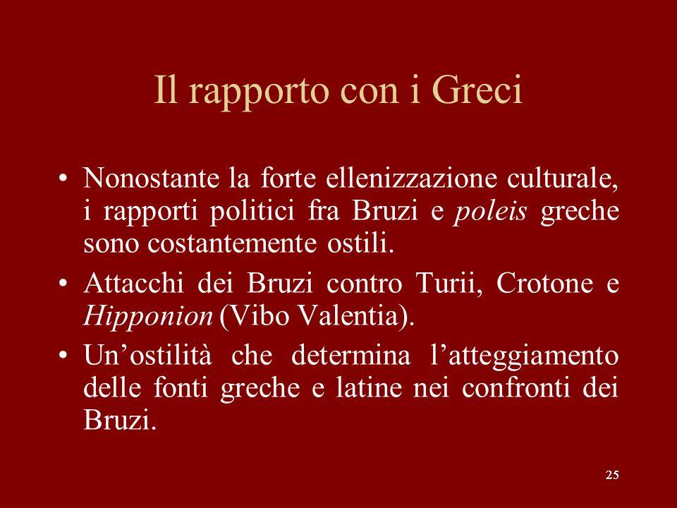 Il rapporto con i Greci Nonostante la forte ellenizzazione culturale, i rapporti politici fra Bruzi e poleis greche sono costantemente ostili.