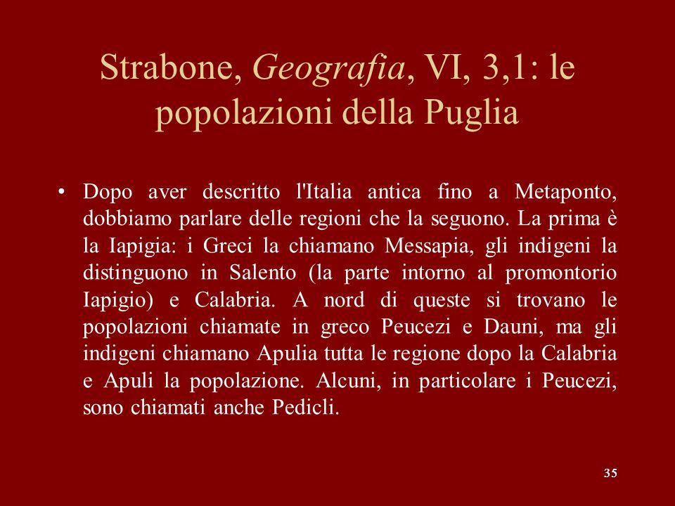 Strabone, Geografia, VI, 3,1: le popolazioni della Puglia