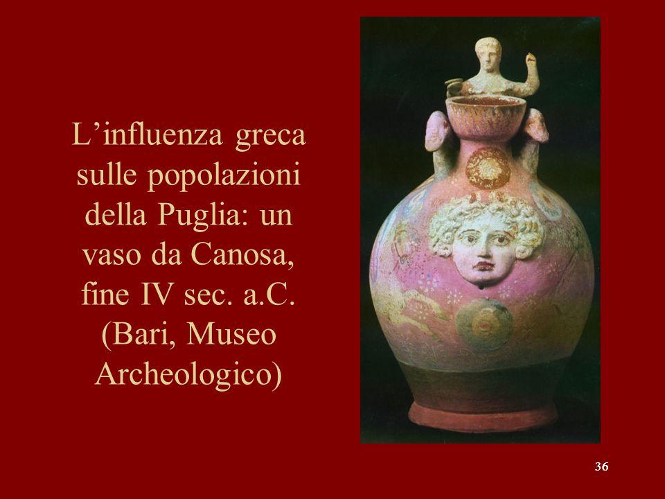 L'influenza greca sulle popolazioni della Puglia: un vaso da Canosa, fine IV sec. a.C. (Bari, Museo Archeologico)