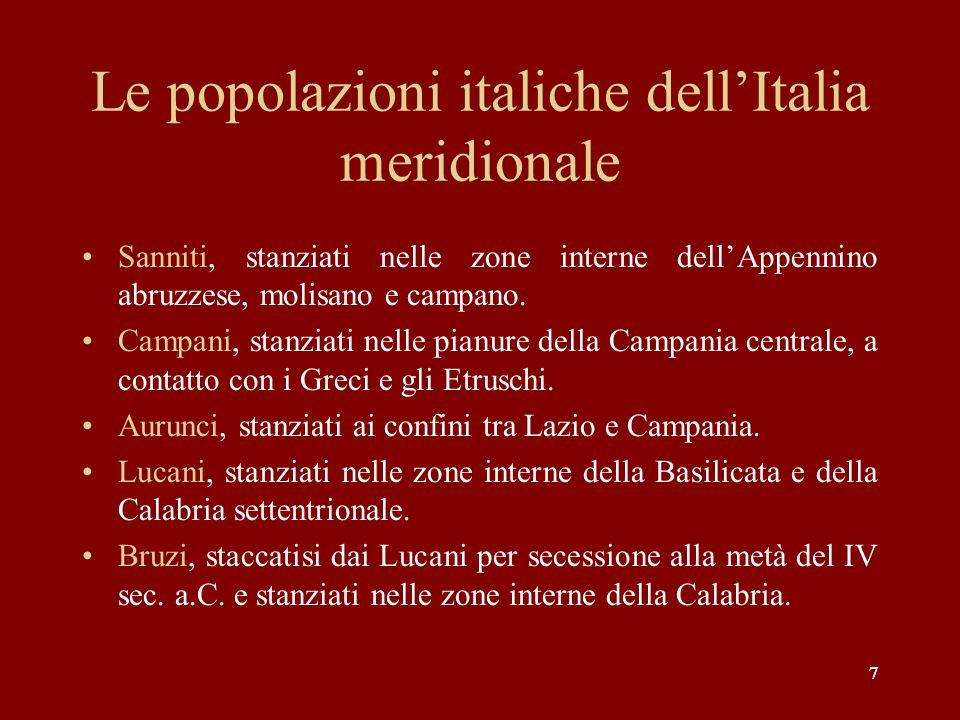 Le popolazioni italiche dell'Italia meridionale