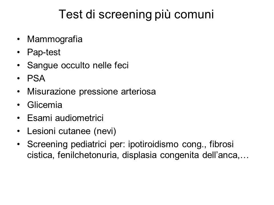 Test di screening più comuni
