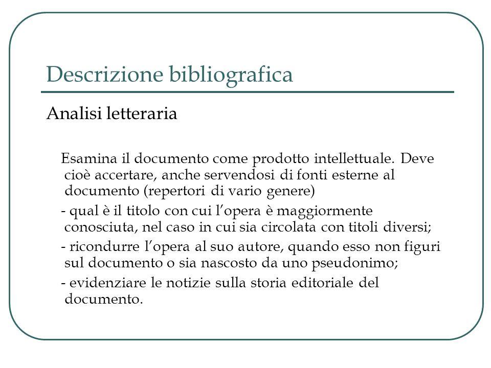 Descrizione bibliografica