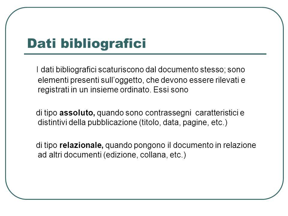 Dati bibliografici