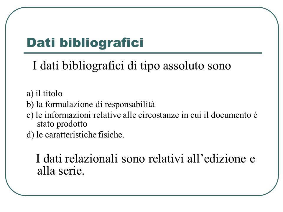 Dati bibliografici I dati bibliografici di tipo assoluto sono