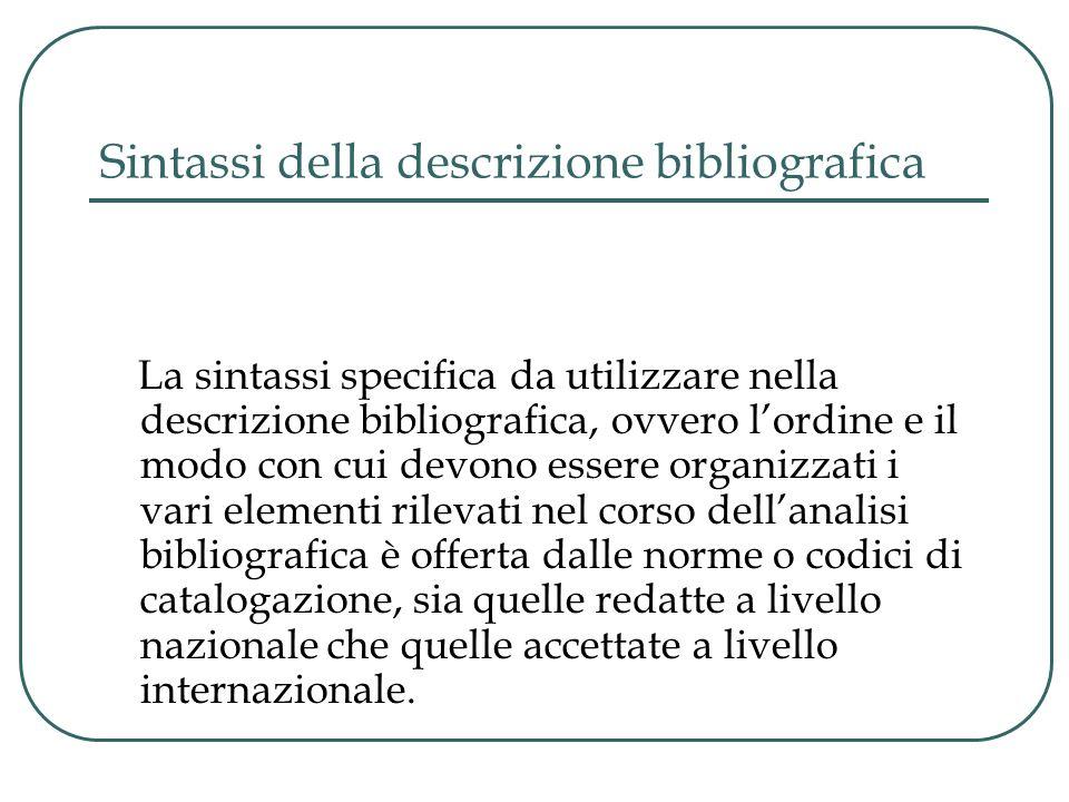 Sintassi della descrizione bibliografica