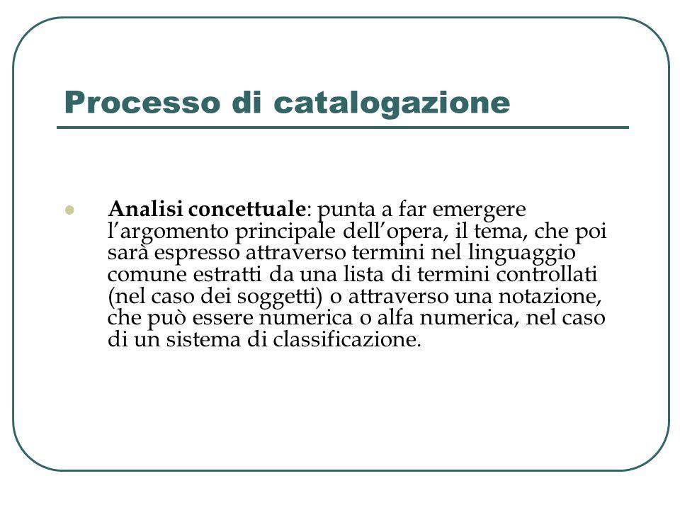 Processo di catalogazione