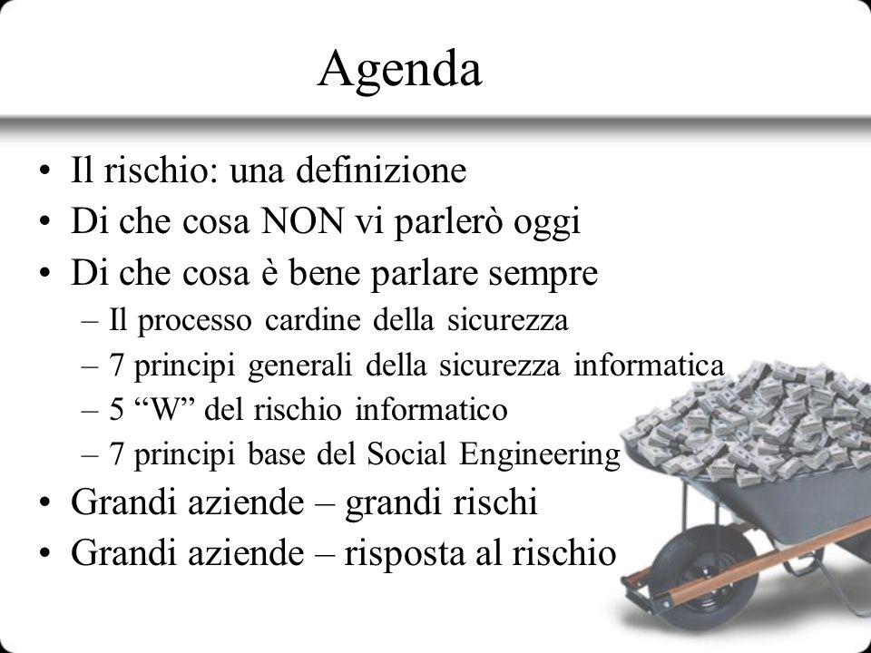 Agenda Il rischio: una definizione Di che cosa NON vi parlerò oggi