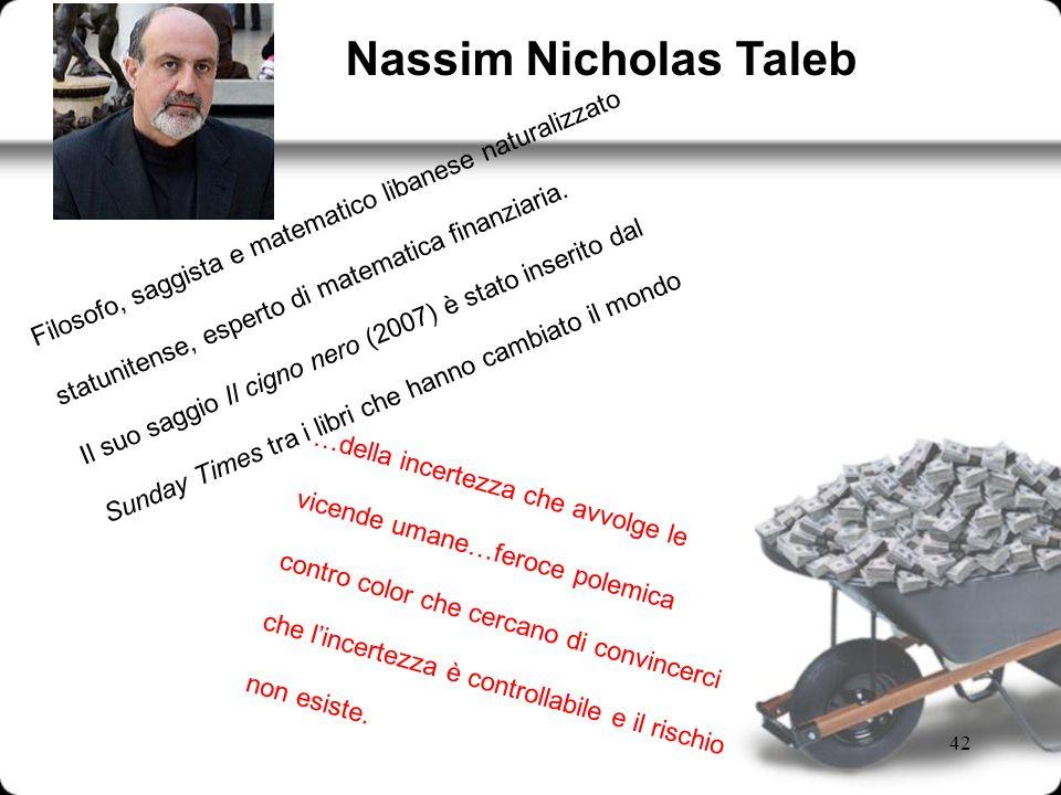 Nassim Nicholas Taleb Filosofo, saggista e matematico libanese naturalizzato. statunitense, esperto di matematica finanziaria.
