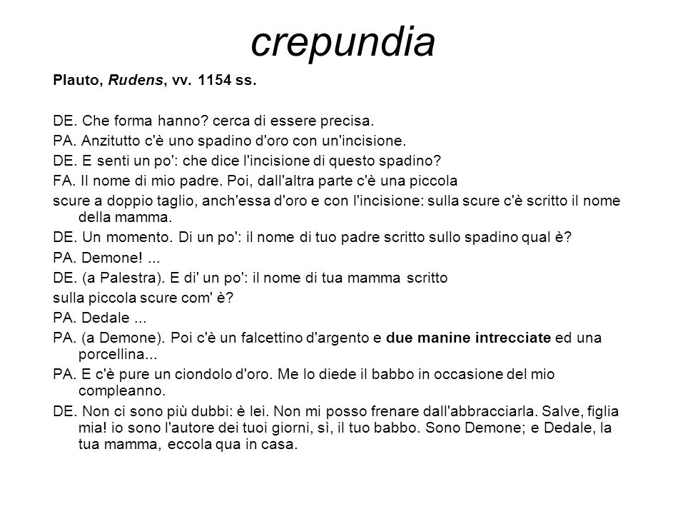crepundia Plauto, Rudens, vv. 1154 ss.