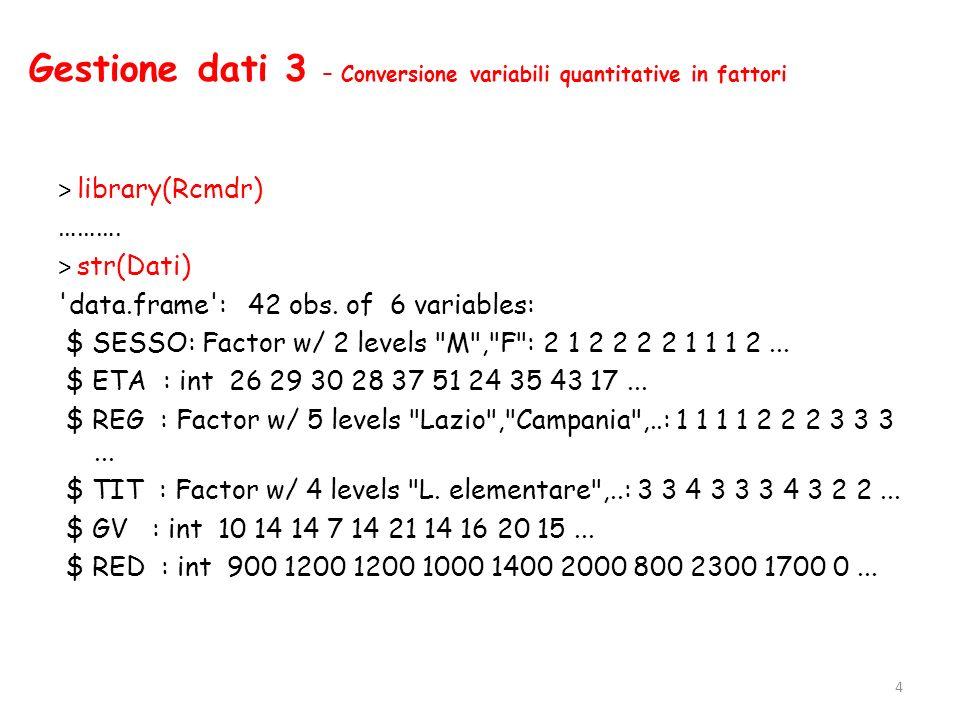 Gestione dati 3 – Conversione variabili quantitative in fattori