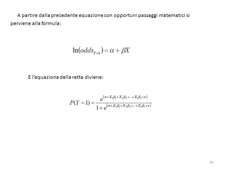 A partire dalla precedente equazione con opportuni passaggi matematici si perviene alla formula: