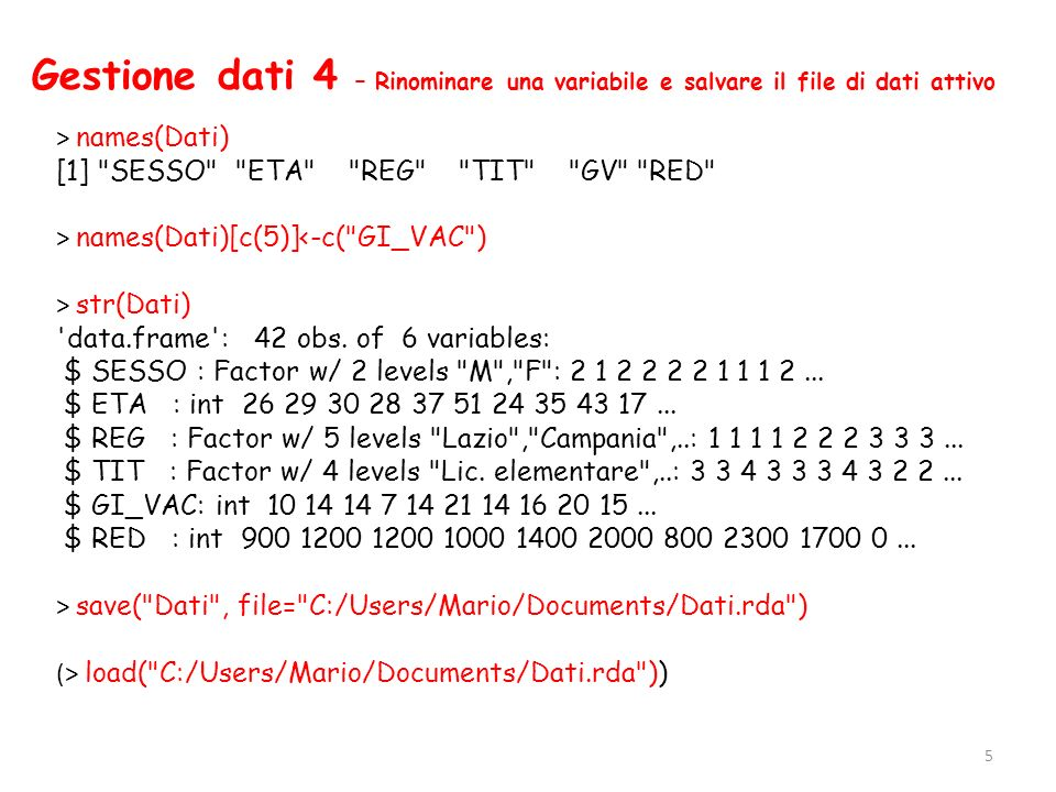Gestione dati 4 – Rinominare una variabile e salvare il file di dati attivo