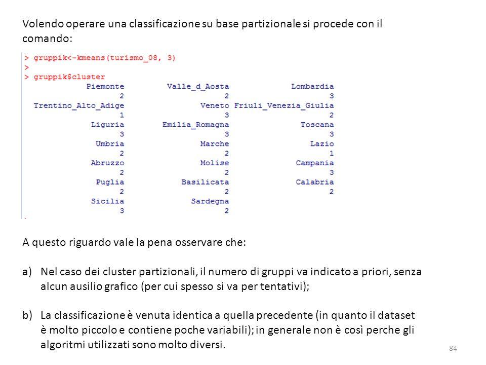 Volendo operare una classificazione su base partizionale si procede con il comando: