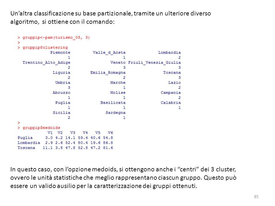 Un'altra classificazione su base partizionale, tramite un ulteriore diverso algoritmo, si ottiene con il comando:
