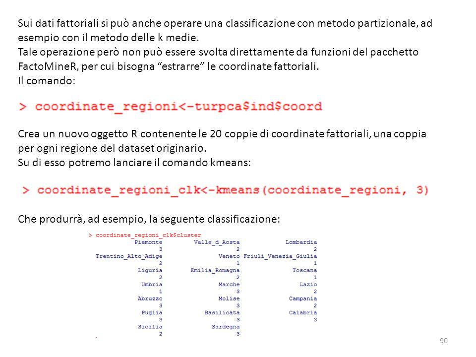 Sui dati fattoriali si può anche operare una classificazione con metodo partizionale, ad esempio con il metodo delle k medie.