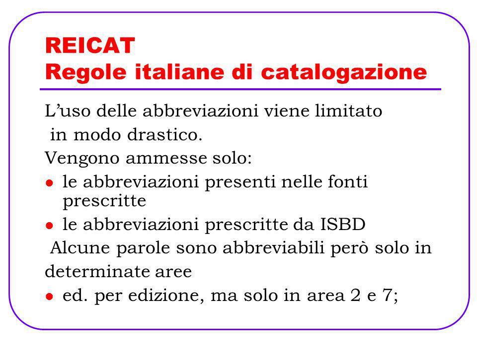 REICAT Regole italiane di catalogazione