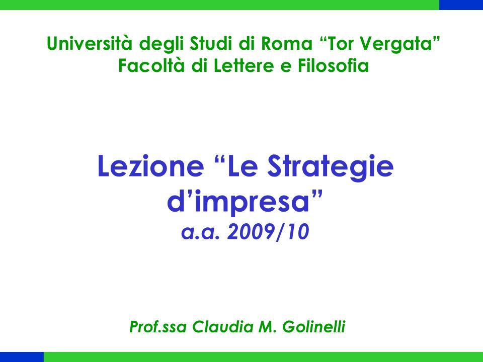 Lezione Le Strategie d'impresa a.a. 2009/10