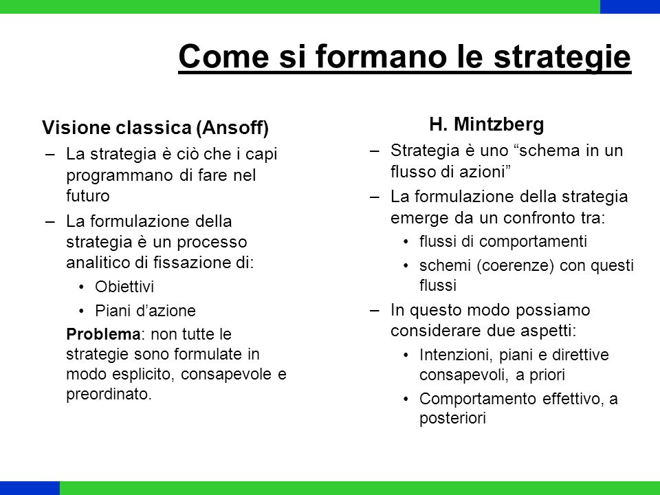 Come si formano le strategie