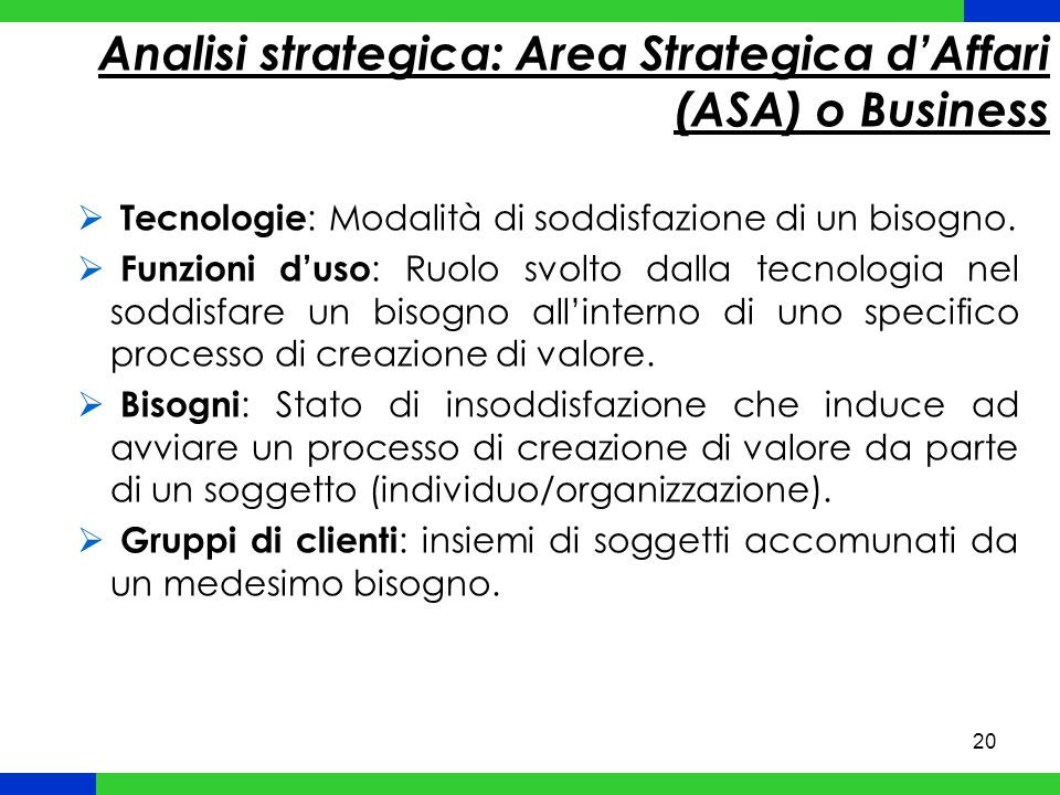 Analisi strategica: Area Strategica d'Affari (ASA) o Business