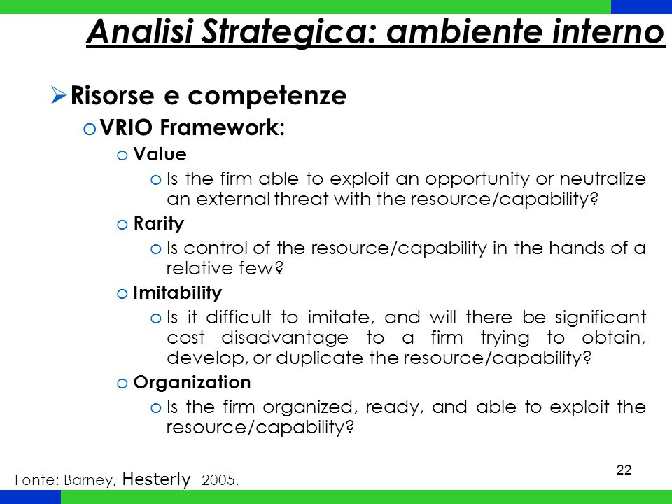 Analisi Strategica: ambiente interno