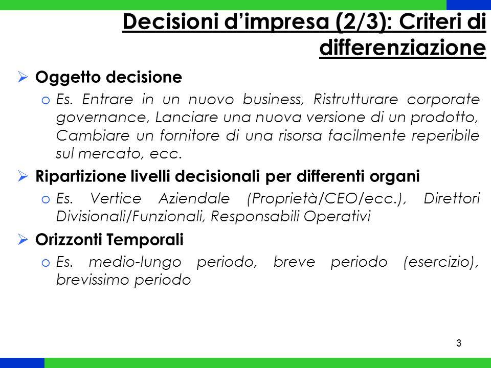 Decisioni d'impresa (2/3): Criteri di differenziazione