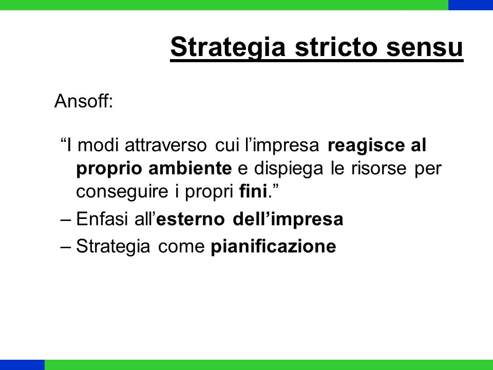 Strategia stricto sensu