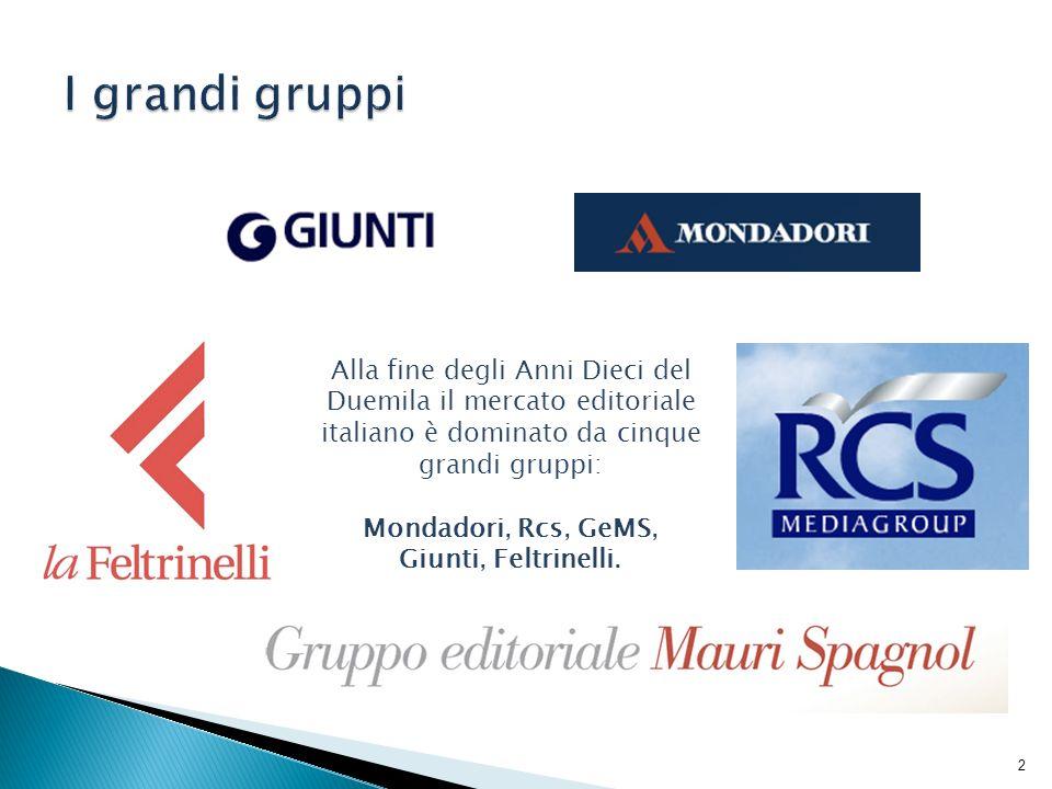 I grandi gruppiAlla fine degli Anni Dieci del Duemila il mercato editoriale italiano è dominato da cinque grandi gruppi: