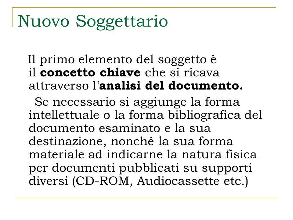 Nuovo Soggettario Il primo elemento del soggetto è il concetto chiave che si ricava attraverso l'analisi del documento.