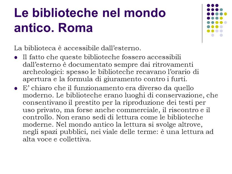 Le biblioteche nel mondo antico. Roma