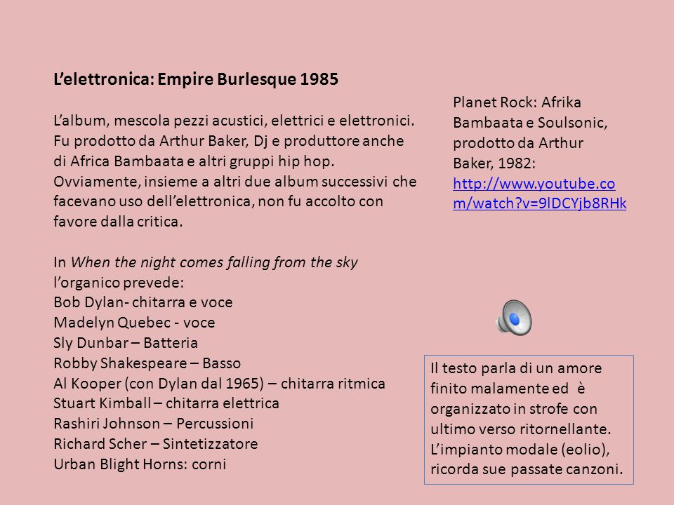 L'elettronica: Empire Burlesque 1985