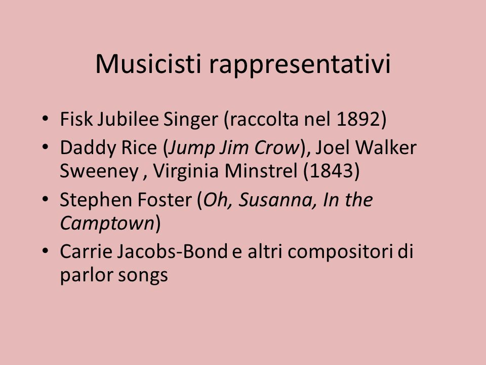 Musicisti rappresentativi