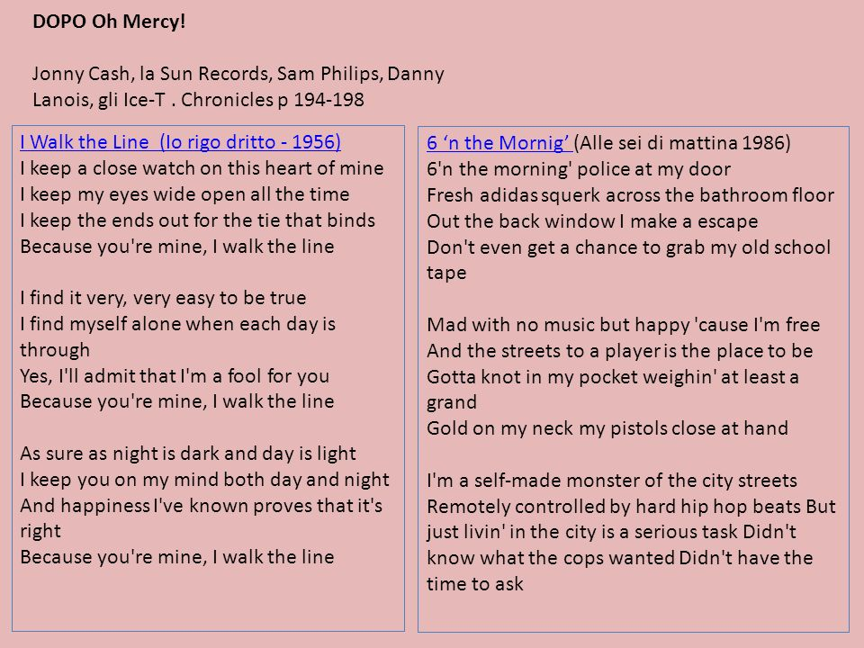 DOPO Oh Mercy!Jonny Cash, la Sun Records, Sam Philips, Danny Lanois, gli Ice-T . Chronicles p 194-198.