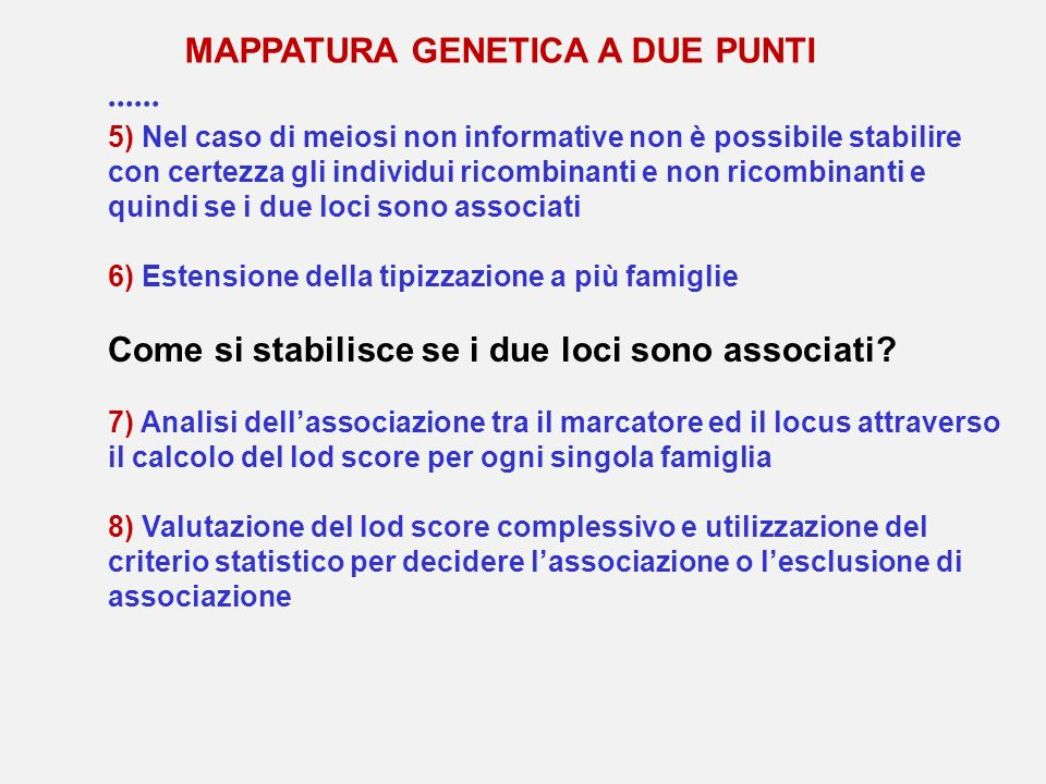 MAPPATURA GENETICA A DUE PUNTI ......