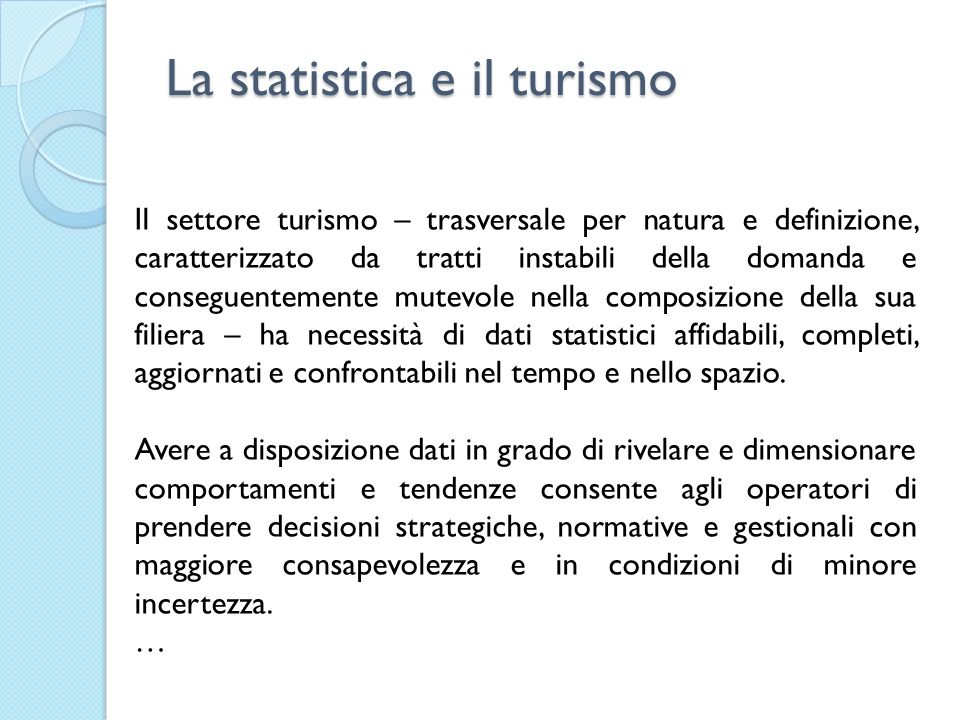 La statistica e il turismo