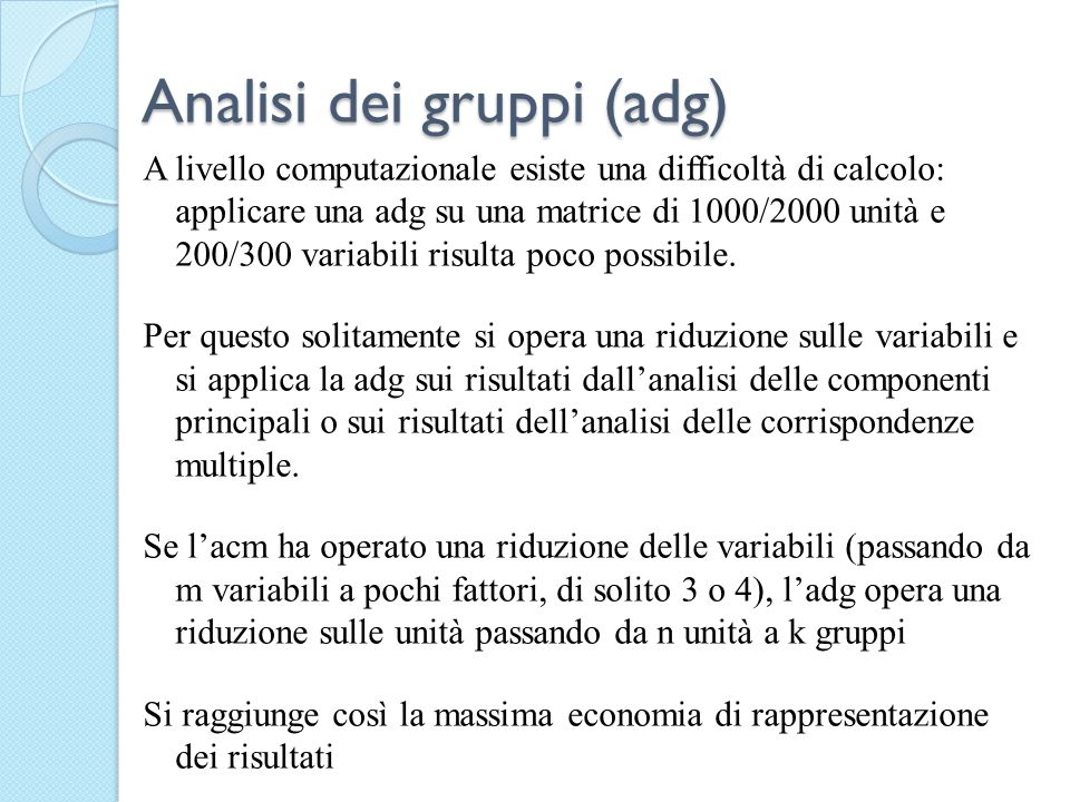 Analisi dei gruppi (adg)