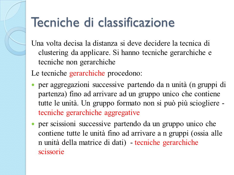 Tecniche di classificazione